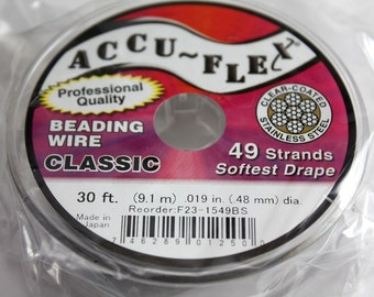 AccuFlex Beading Wire - 49 strand Clear Stainless Steel 019 30 Feet
