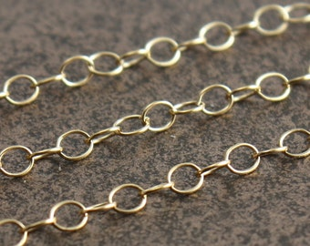 Gold Filled Chain By the Foot - Oval Cable Chain 3mm x 2mm - Select Lengths to 3 Feet