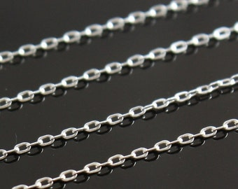 Sterling Chain by the Foot -  Drawn Flat Cable Chain 2mm x 1mm - Select Lengths to 3 feet