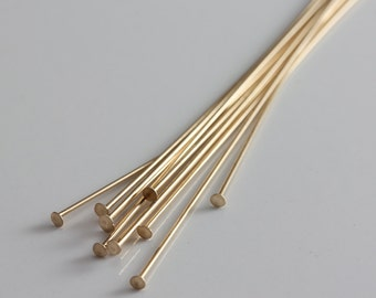 Gold Filled Headpins Flat Head 24ga 2 inches - 10 pieces