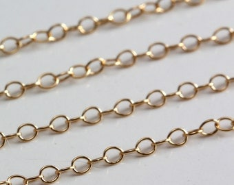 Gold Filled Chain Bulk - Fine Cable Chain 1.3mm - SAVE 5 - 10% on Bulk Chain Lengths 5 to 12 feet