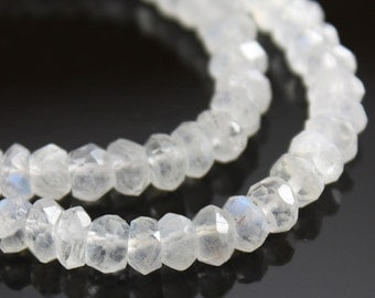 Rainbow Moonstone Beads Faceted 3mm - 4mm Rondelles - 20 pieces