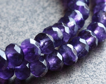 Dark Natural Amethyst Gemstone Beads faceted rondelles 6mm  - 20 beads