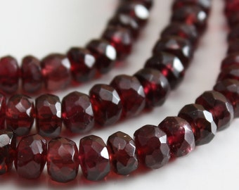 Ruby Red Spinel Faceted Rondelle Beads 3.2mm - 4.7mm  - 12 beads