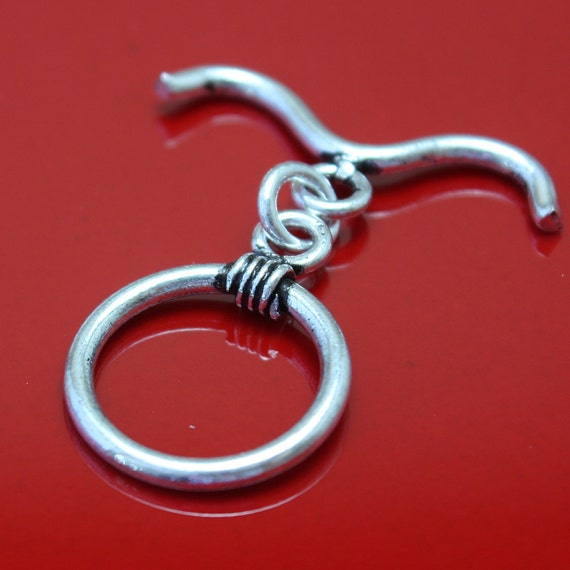 Sterling Silver Toggle Clasp 16mm Oxidized Curved Bar  - 1 clasp