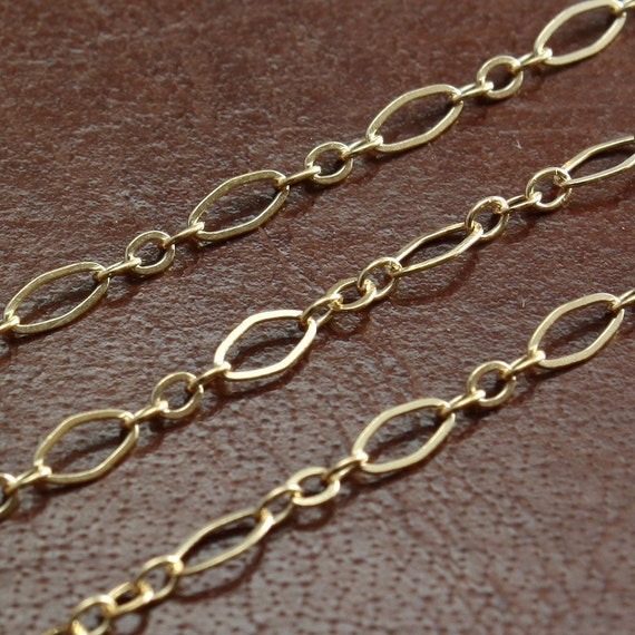 Gold Filled Chain by the Foot -  Flat Oval Long and Short Chain 4.5mm x 2.5mm - Select Length