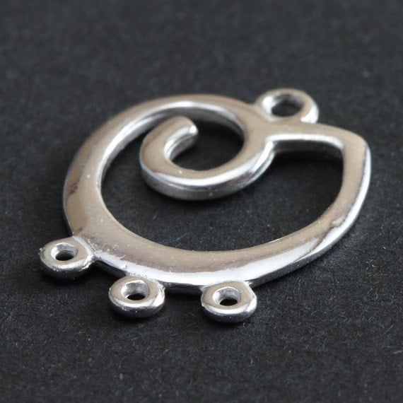 Sterling Silver Findings Spiral Focal Connector 3 Loops 20mm