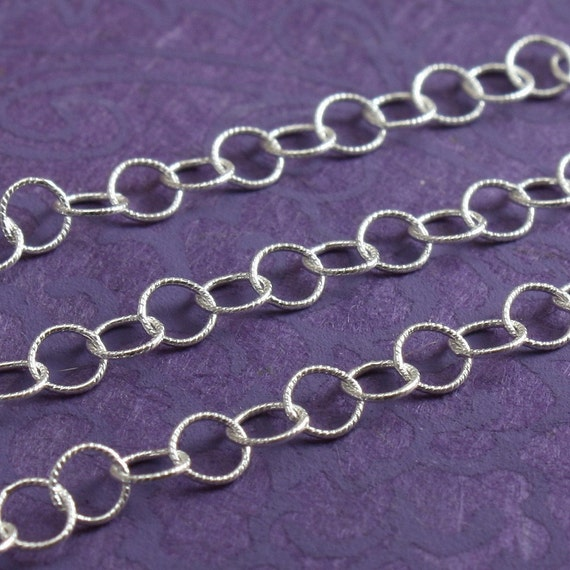 Sterling Chain Bulk - Textured Round Cable Chain 3.4mm - 3 Feet