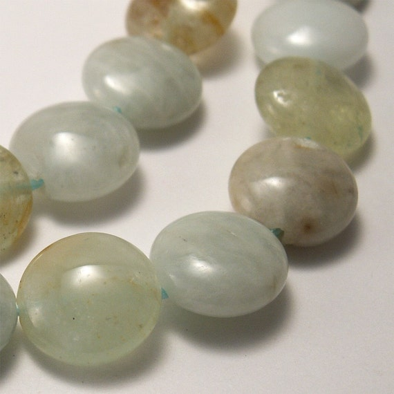 Multicolored Aquamarine Beads 12mm Coin - 8 beads