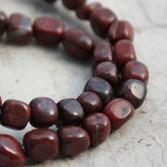 Brecciated Jasper Beads Small Pebble Nuggets - Full Strand