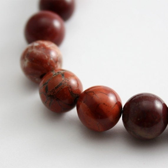 Red Flake Jasper 8mm round - 8 inch strand