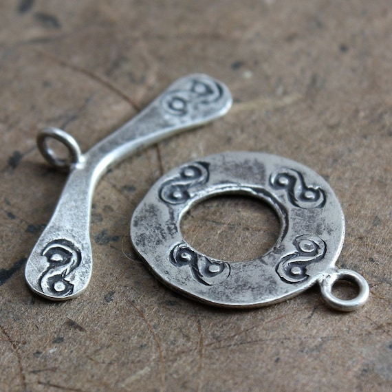 Large Sterling Silver Decorative Toggle Clasp 16mm