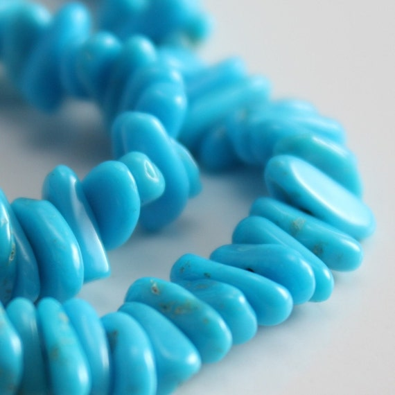 Sleeping Beauty Turquoise Beads 7mm Rectangular Chips - Half Strand
