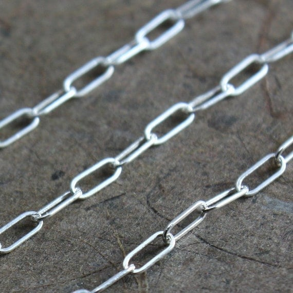 Sterling Chain Bulk - Drawn Rectangle Link Chain 5mm x 2mm - 2 Feet