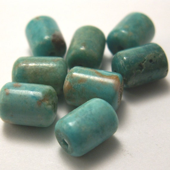 8 Turquoise Barrel Beads 8mm x 6mm