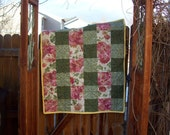 Flannel Baby/Lap Throw Quilt in Ivory, Pink, Rose Light, Medium & Dark Green, Yellow FREE US SHIPPING