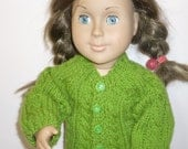 "Green Cable hand knit sweater for American Girl or 18"" doll. Sale. Free ship."