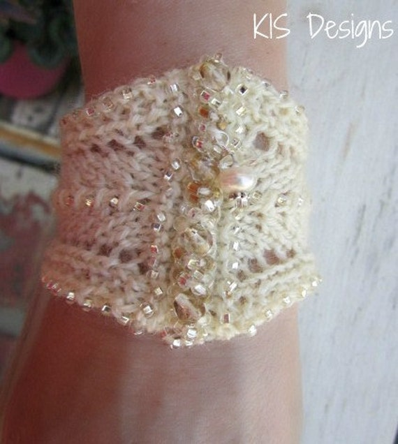 White Wedding Knitted Beaded Cuff