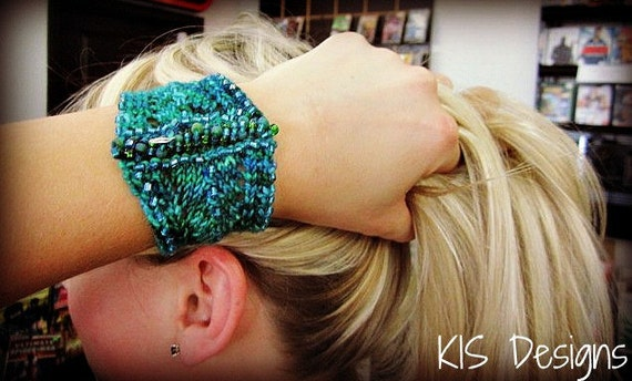 Shimmering Stash Buster Knitted Cuff Pattern