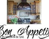 Bon Appetit  6x32   Kitchen  Vinyl Lettering Wall Sayings
