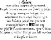 Marilyn Monroe Quote 15x19 I Believe Everything Happens for a Reason  Vinyl Lettering Wall Saying