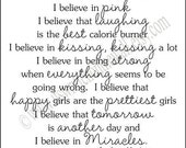 AUDREY HEPBURN I believe in Manicures Pink  22x24 Vinyl Lettering Wall Letters