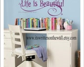 Life Is Beautiful 10x30 Vinyl Lettering Wall Saying