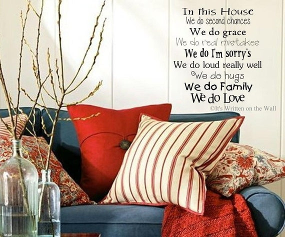 In this House We do second chances....Vinyl Lettering Wall Saying HAVE 61 COLORs-Ship is only 2.99 for UNLIMITED Items
