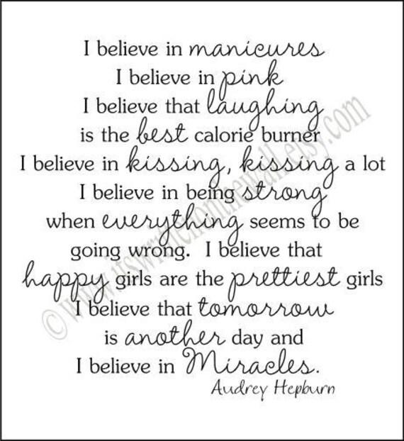 Celebrity Wall Art Audrey Hepburn 8 x 10 print I Believe  |Audrey Hepburn Quotes I Believe In Manicures