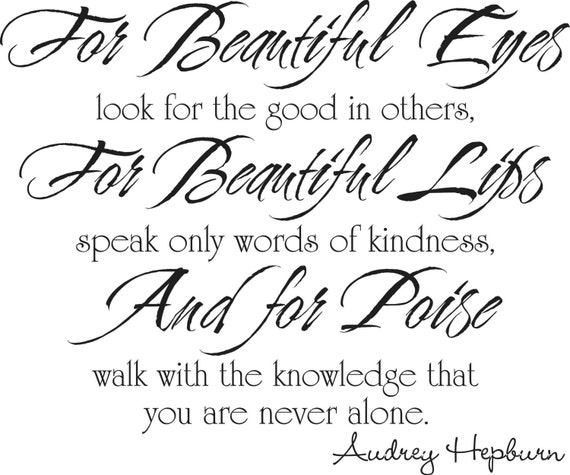 Beauty Quotes For Her Eyes: AUDREY HEPBURN QUOTE For Beautiful Eyes Vinyl Lettering Wall