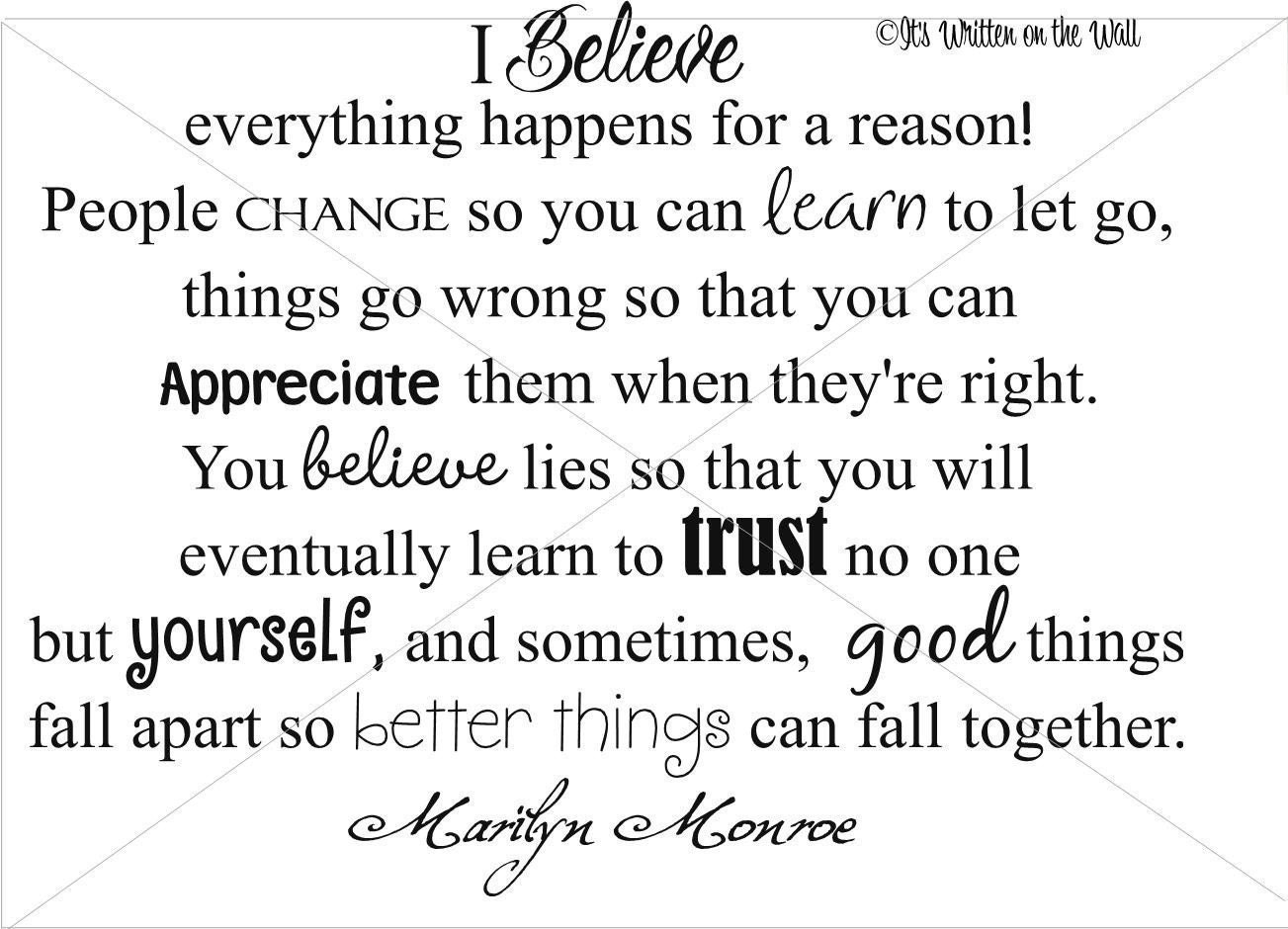 Marilyn Monroe Quote 15x19 I Believe Everything Happens For A