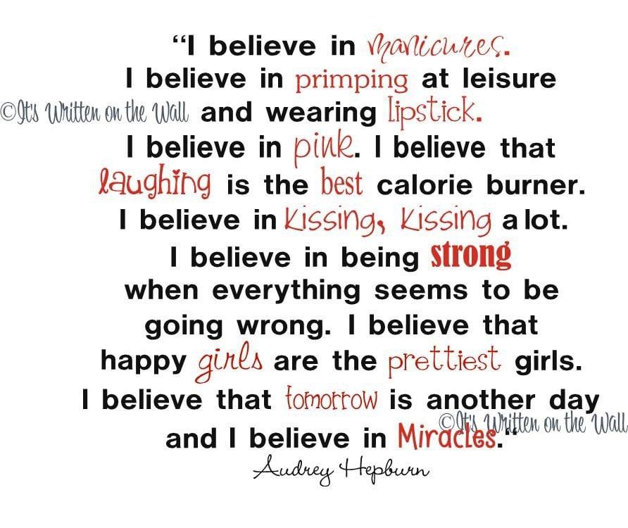 Audrey Hepburn Quote Bracelet - I believe in manicures...  |Audrey Hepburn Quotes I Believe In Manicures