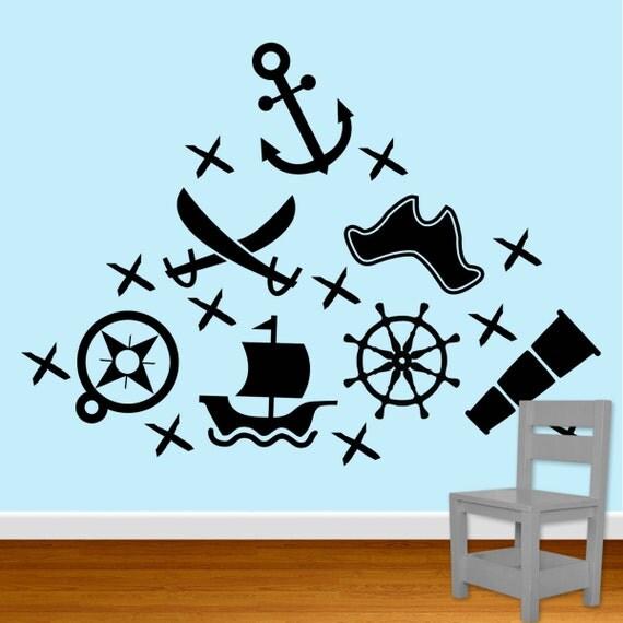 pirate wall decals vinyl ship sword hat db108. Black Bedroom Furniture Sets. Home Design Ideas