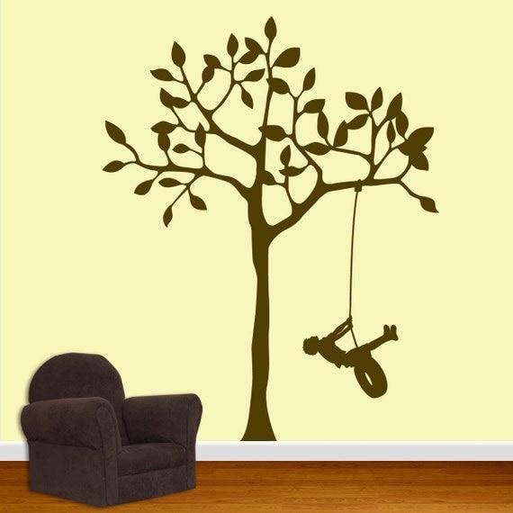 Nursery Wall Decal - Boy Swinging Tree  DB133