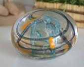 Large Blue, Yellow Swirled Paperweight...
