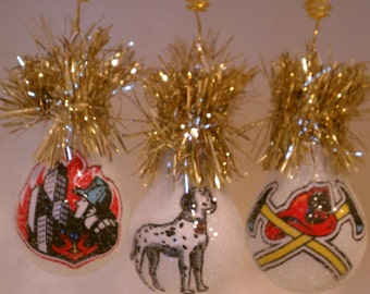 Fireman Trio light bulb ornament set