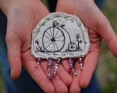 Bike Ride Brooch -Penny Farthing Freehand Machine Embroidered - TexTile Art
