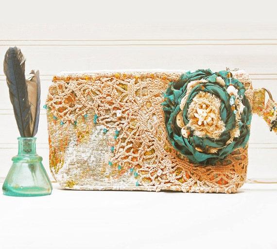Monets Garden KeepSake Wristlet - Vintage crochet lace tattered rose hand beaded teal Bridal Wedding clutch