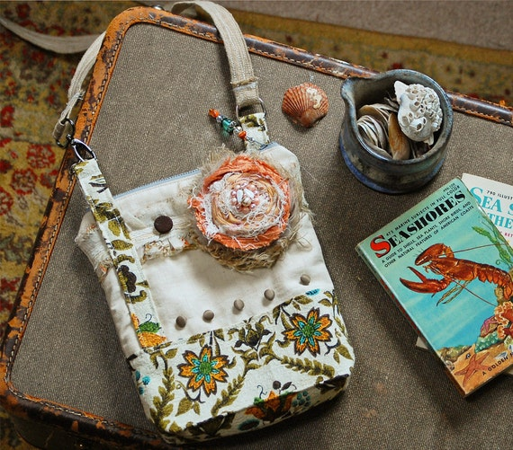 ReSerVed - -  Under the Boardwalk CrossOver Bag - Shabby Chic Beach Cottage Linen Barkcloth Lace Tattered Peach Rose