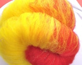 Center of the Sun 2.3oz Sparkly Batt, Red, Yellow, Sw wool, angelina