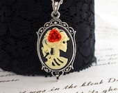 New Size - Black and Ivory Skeleton Cameo Necklace - Little Miss Death - Original - Setting 1 (Medium)
