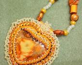 Lacey Beaded Orange Heart Valentine Necklace