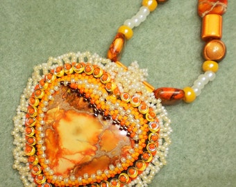 Lacey Beaded Orange Heart Necklace