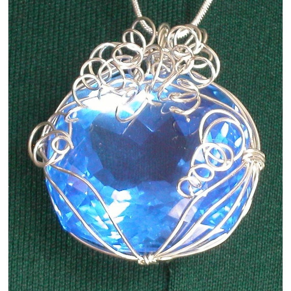 Sterling Silver and Cornflower Blue Quartz Necklace - FREE SHIPPING