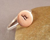 Initial Ring, Personalized Ring, Stamped Initial Ring in Copper and Sterling Silver