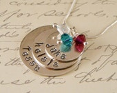 Personalized Mothers Necklace - Sterling Silver Mother's Necklace with three names and birthstones