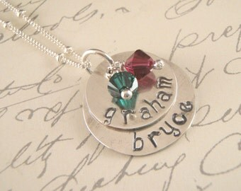 Custom Mother's Necklace Stamped,personalized mothers necklace, 2 names with birthstones