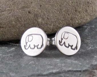 Lucky Elephant - Sterling Silver Stud Earrings