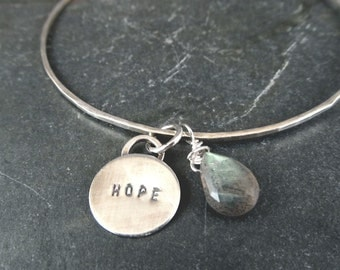 Sterling Silver Charm Bangle - Hope Charm -Labradorite - graduation gift