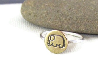 Lucky Elephant Ring in Sterling Silver and Brass, mixed Metals, elephant jewelry